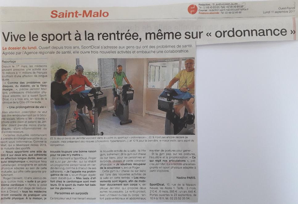 Article presse Ouest France septembre 2017
